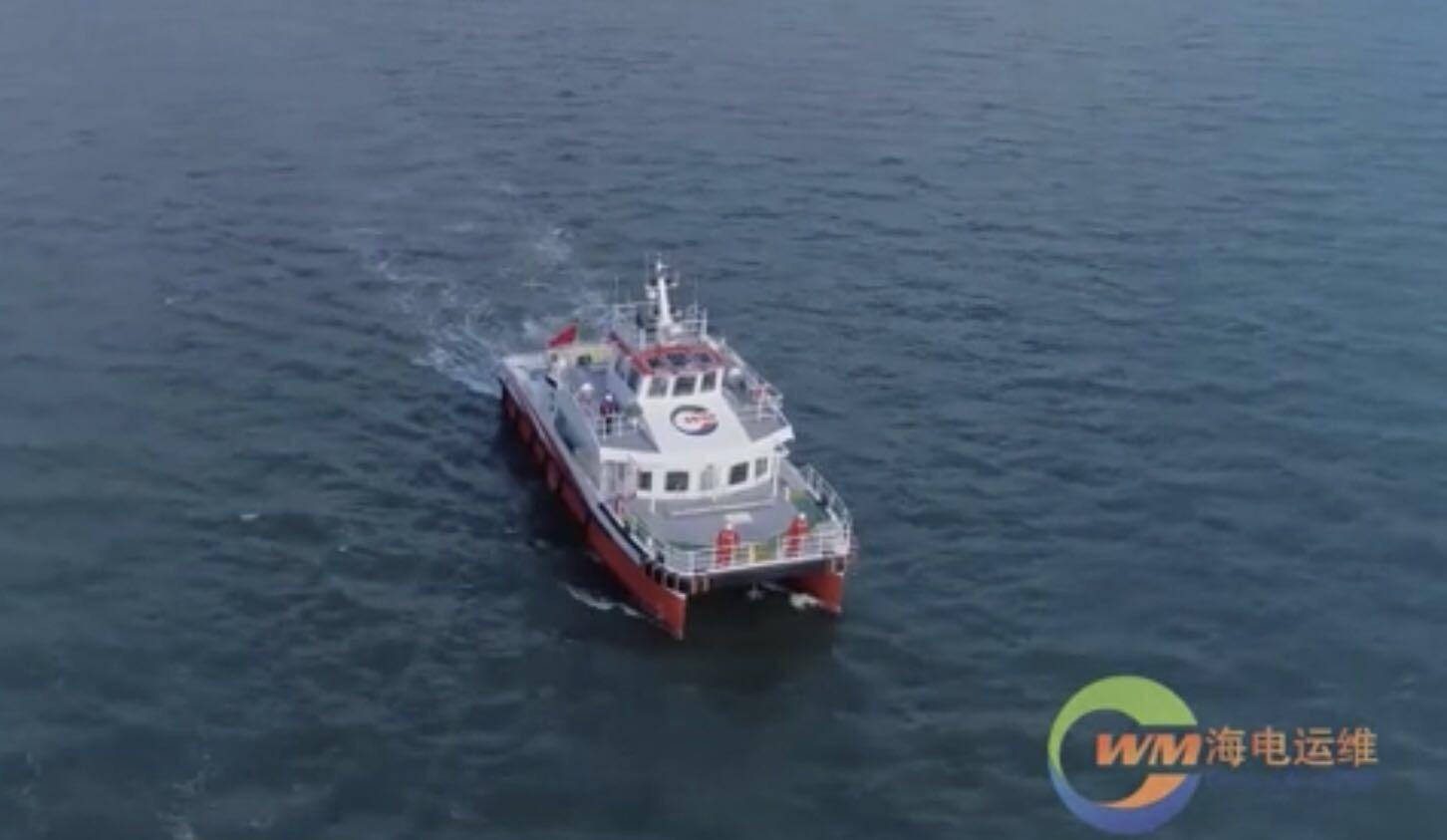 23米海上双体铝合金高速运维船。