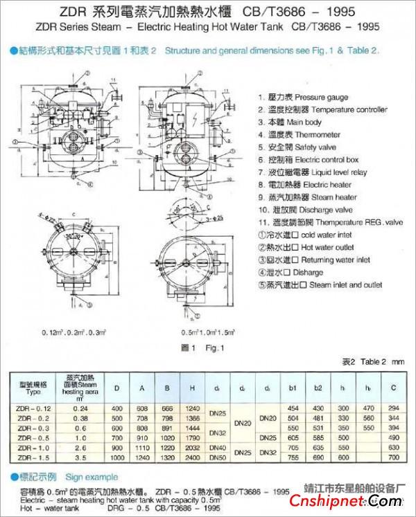 电加热保温柜接线图 出售电加热水柜DRG0.5(靖江东星船舶设备厂)