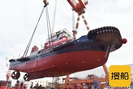 镇江船厂5200HP全回转消拖两用船吊装下水,